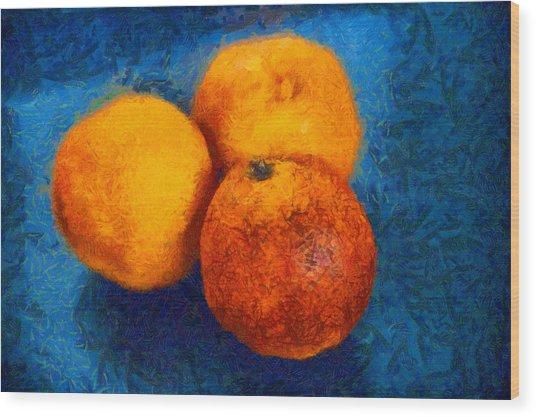 Food Still Life - Three Oranges On Blue - Digital Painting Wood Print
