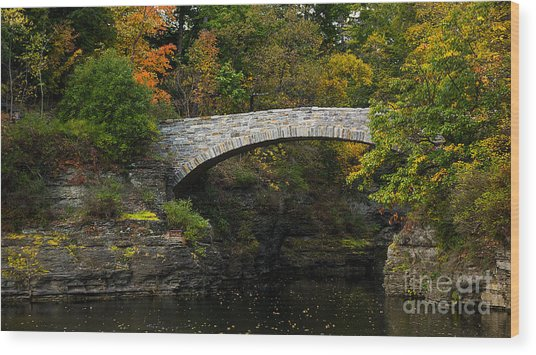 Foot Bridge At Beebe Lake Wood Print