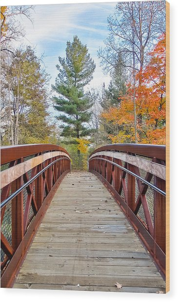 Foot Bridge In Fall Wood Print