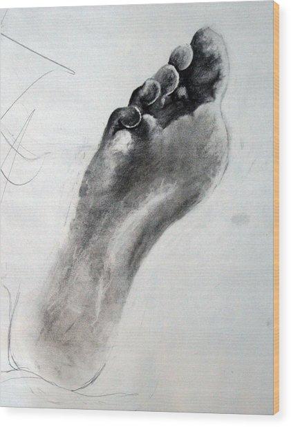 Foot Study Wood Print by Corina Bishop