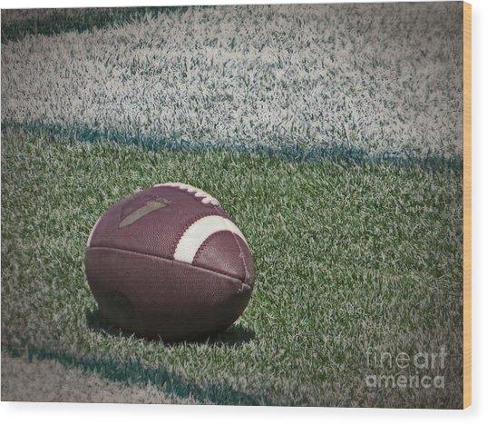 An American Football Wood Print