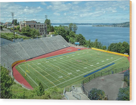 Football Field By The Bay Wood Print