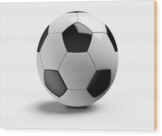 Football On A White Background Wood Print by Atomic Imagery