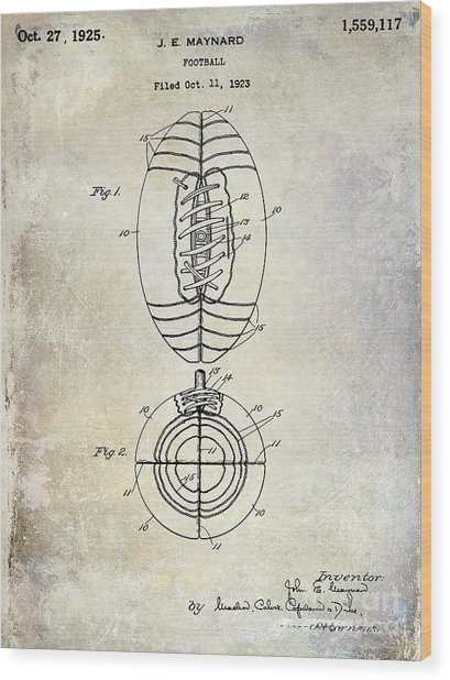1925 Football Patent Drawing Wood Print