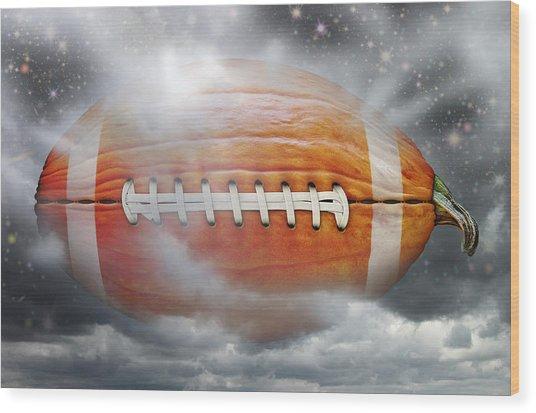 Football Pumpkin Wood Print