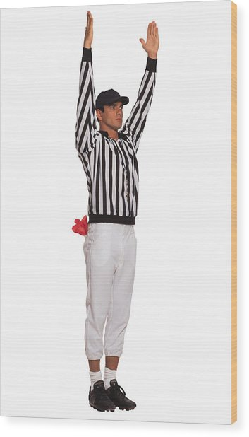 Football Referee Signaling Touchdown Wood Print by Comstock