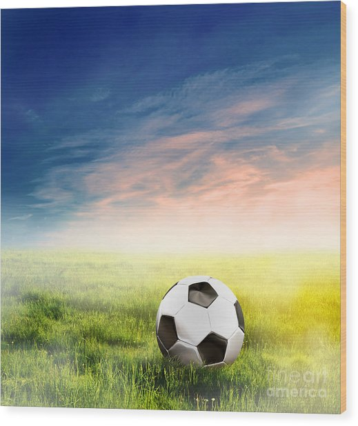 Football Soccer Ball On Green Grass Wood Print