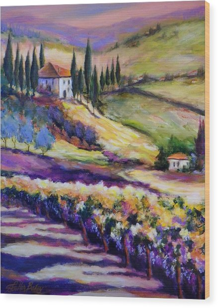 Foothills Vines And Olives Of Tuscany  Sold Wood Print by Therese Fowler-Bailey