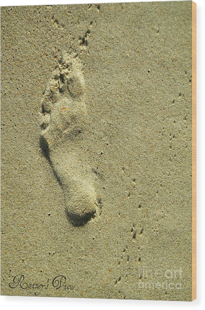 Footprint Wood Print by Lorraine Heath