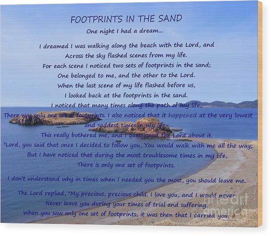 Footprints In The Sand 2 Wood Print
