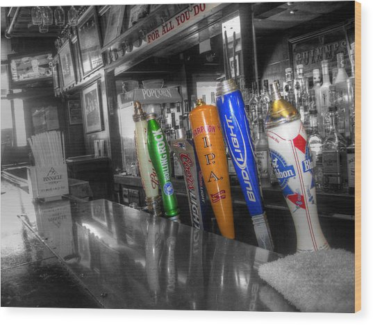 For All You Do - Beer Taps - Selective Color Wood Print