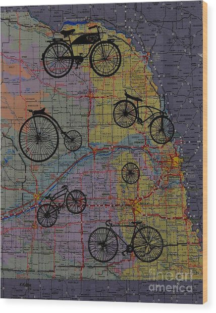 For The Love Of Cycling Wood Print by Kathleen Keller