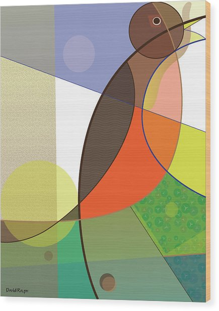 Foraging Robin Wood Print