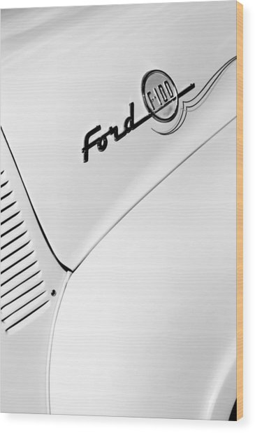 Ford F-100 Pickup Truck Emblem Wood Print