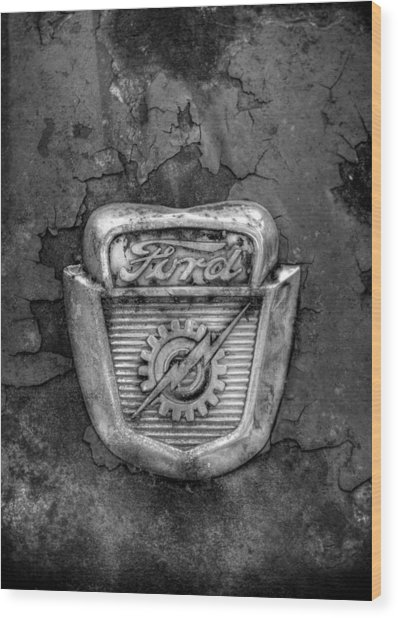 Ford Gear And Lightning In Black And White Wood Print