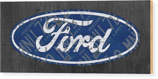 Ford Motor Company Retro Logo License Plate Art Wood Print