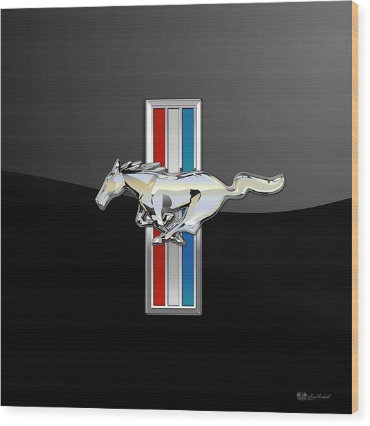 Ford Mustang - Tri Bar And Pony 3 D Badge On Black Wood Print