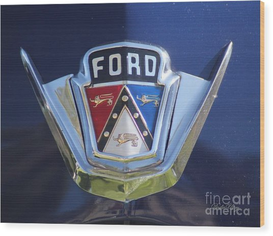Ford On Blue Wood Print