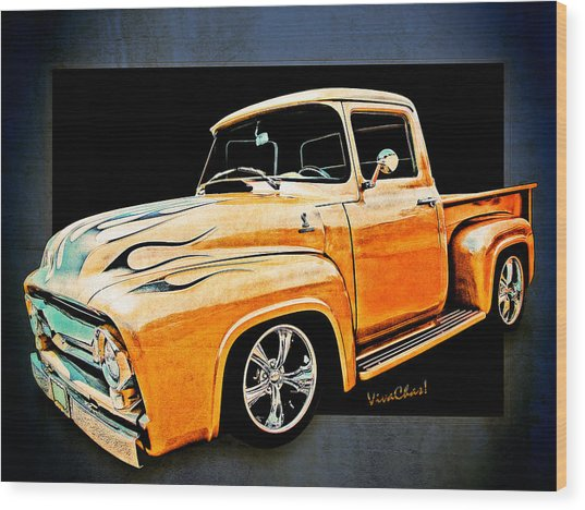 Ford Pickup In Flaming Gold Wood Print