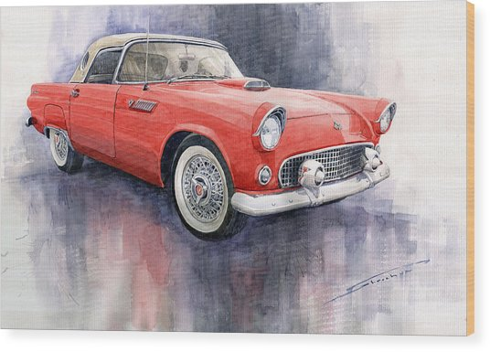 Ford Thunderbird 1955 Red Wood Print