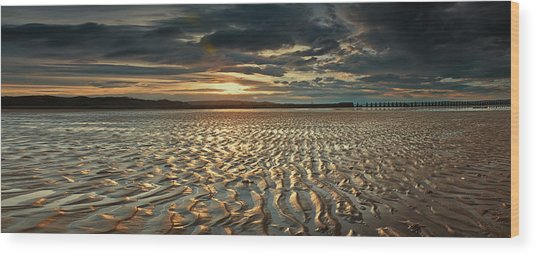 Foreshore At Dusk Wood Print