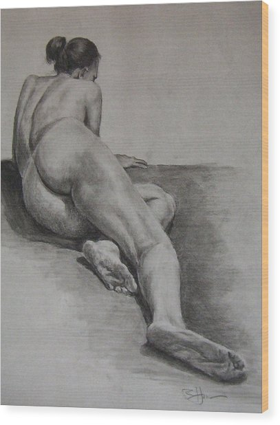 Foreshortened Nude Wood Print