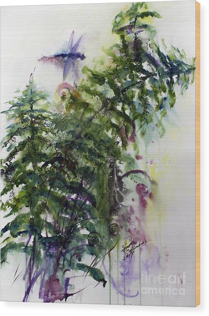 Forest Fern And Dragonfly Wood Print