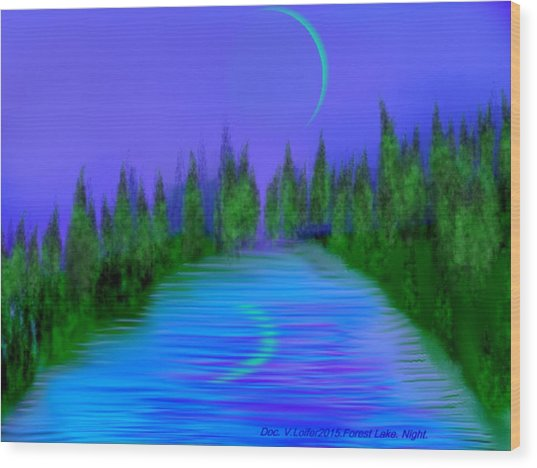 Forest Lake. Night. Wood Print