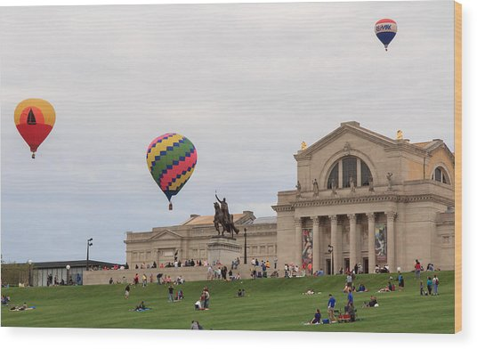 Forest Park Balloon Race Wood Print