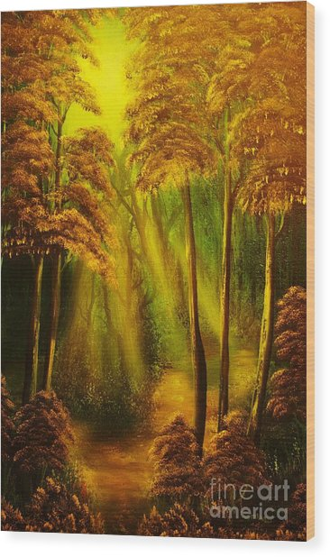 Forest Sunrays- Original Sold -buy Giclee Print Nr 38 Of Limited Edition Of 40 Prints  Wood Print