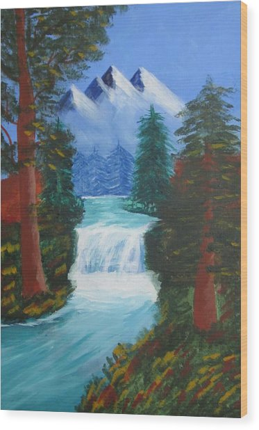 Forest Waterfall Wood Print by Haleema Nuredeen