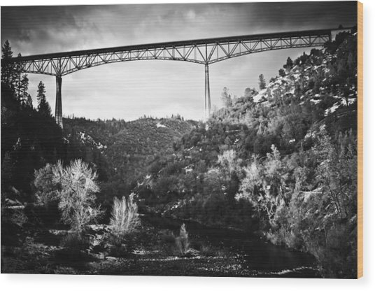 Wood Print featuring the photograph Foresthill Bridge In The Snow 2 by Sherri Meyer