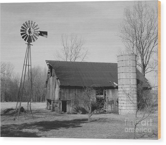 Forgotten Farm In Black And White Wood Print