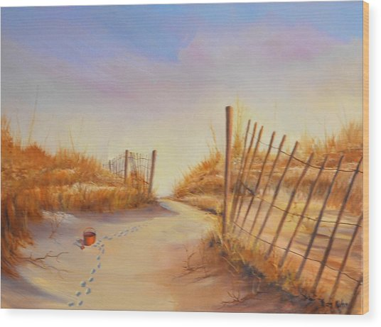 Forgotten Toy In The Sand Wood Print by Rich Kuhn