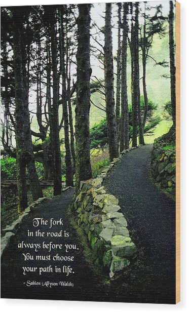 Fork In The Road Wood Print by Mike Flynn