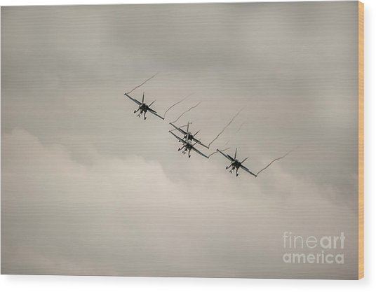 Formation Flying Wood Print