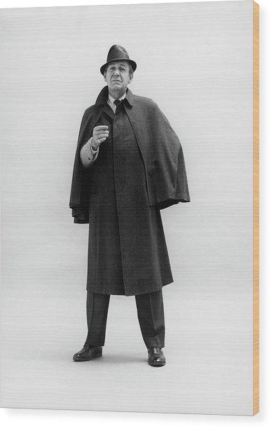 Forrest Tucker Wearing A Tweed Coat Wood Print by Leonard Nones