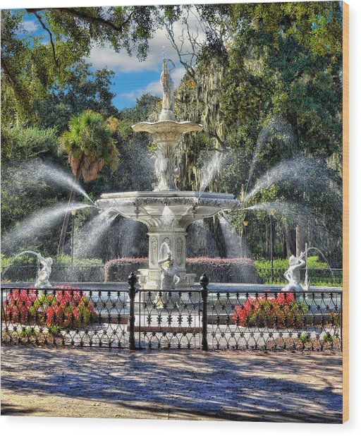 Forsyth Park Fountain Wood Print