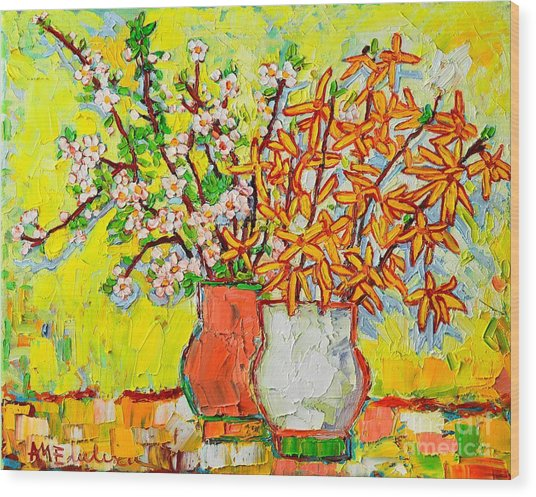 Forsythia And Cherry Blossoms Spring Flowers Wood Print