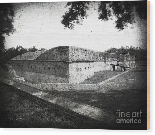 Fort Barrancas Faux Civil War Era Photograph Wood Print