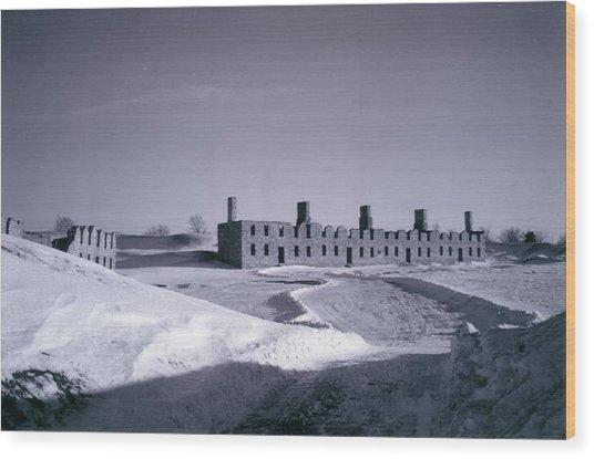 Fort Crown Point Ruins In Winter Wood Print by David Fiske