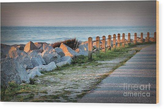 Fort Fisher Rocks At  Sunrise Wood Print