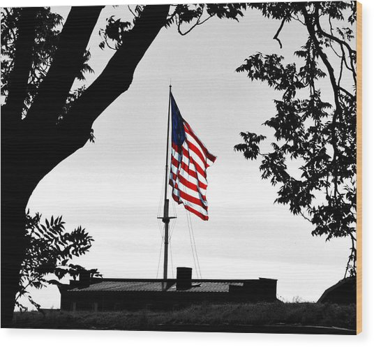 Fort Mchenry Flag Color Splash Wood Print