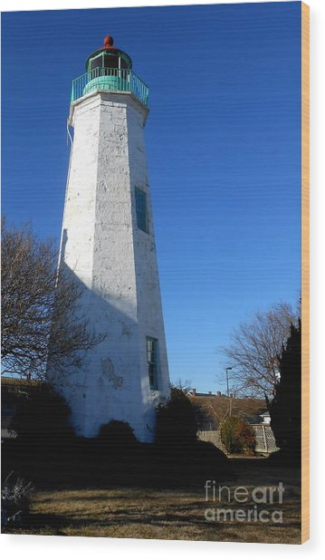 Fort Monroe Lighthouse Wood Print by Lesley Giles