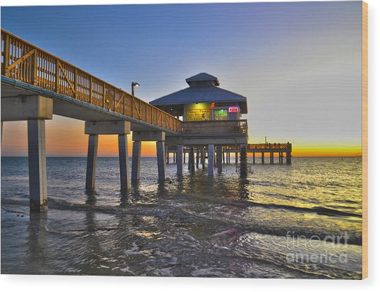 Fort Myers Beach Pier 3 Wood Print