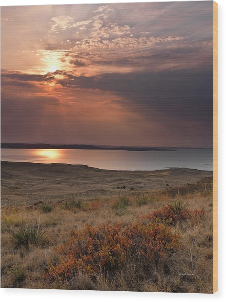 Fort Peck Lake Wood Print by Leland D Howard