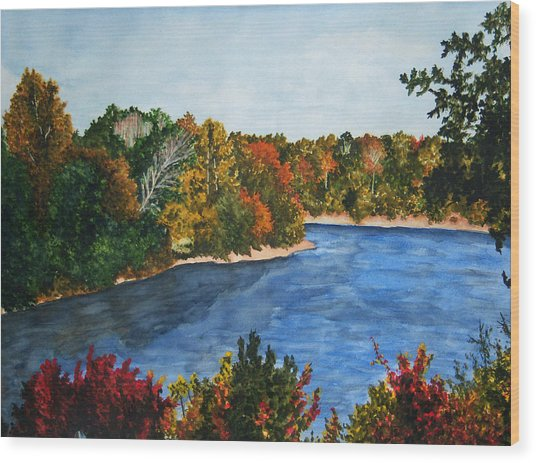 Fort Toulouse Coosa River In Fall Wood Print by Beth Parrish