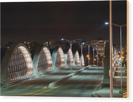 Fort Worth Seventh Street Bridge Oct 10 2014 Wood Print