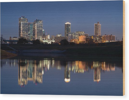 Fort Worth Skyline 020915 Wood Print