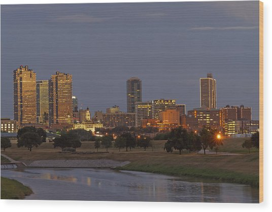 Fort Worth Skyline Golden Hour Wood Print